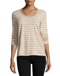James Perse 3 4 Sleeve Relaxed Tee W Stripes Heather Brown Natural
