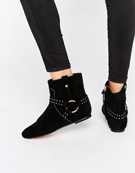 Ted Baker Sonoar Stud Suede Ankle Boots Black Suede
