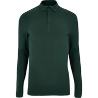 River Island Mens Dark Green Muscle Fit Polo Top