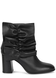 Msgm Black Ruffled Leather Ankle Boots