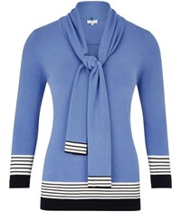 Cc Cornflower Blue And Striped Scarf Jumper