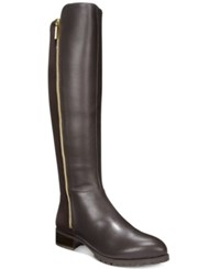 Nine West Legretto 50 50 Stretch Tall Boots Women's Shoes Dark Brown Leather