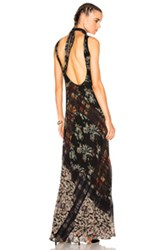Etro Alice Long Gown In Gray Green Floral Gray Green Floral