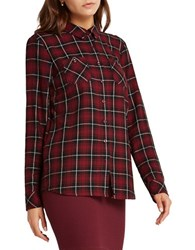 Bcbgeneration Plaid Patterned Button Up Shirt Red