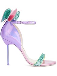 Sophia Webster Glitter Effect Bow Sandals Pink Purple