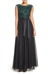 Aidan Mattox Women's Beaded Embroidered Mesh Fit And Flare Gown