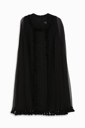 Andrew Gn Sheer Cape Dress Black
