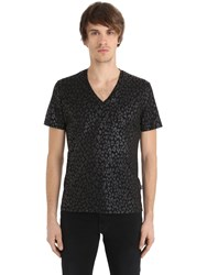 Just Cavalli Leopard Waxed Jersey T Shirt