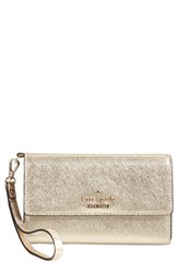 Women's Kate Spade New York 'Cedar Street' Iphone 6 Leather Wristlet Metallic Gold