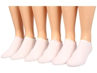 Hue Cotton Liner 6 Pair Pack Rainbow Tipped Women's No Show Socks Shoes White