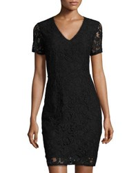 T Tahari Lace Overlay Sheath Dress Black