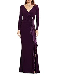 Ralph Lauren Silk Ruffle Gown With Brooch Raisin