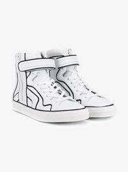 Pierre Hardy 112 Match Leather High Top Sneakers Black White Denim