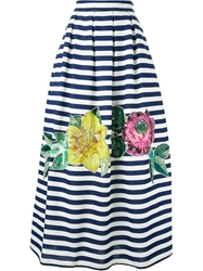 P.A.R.O.S.H. Maxi Embellished Striped Skirt Blue