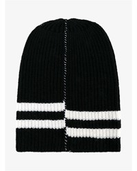 Raf Simons Virgin Wool Striped Oversized Beanie Hat Black White Denim