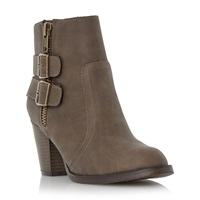 Head Over Heels Pardonne Buckle And Zip Trim Ankle Boots Taupe