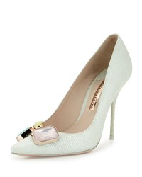 Sophia Webster Lola Gem Iridescent Embossed Pump Mint