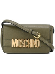 Moschino Logo Plaque Crossbody Bag Green