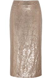 Iro Bump Sequined Mesh Midi Skirt Gold
