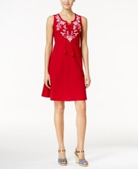 Styleandco. Style And Co. Embroidered Lace Up Dress Only At Macy's New Red Amore