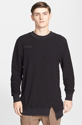 'Weiss' Woven Accent French Terry Sweater Black