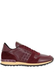 Valentino Rockstud Leather And Suede Sneakers