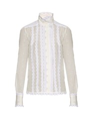 See By Chloe Broderie Anglaise Cotton Shirt White
