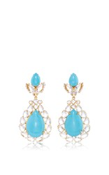 Bounkit Turquoise And Clear Quartz Drop Earrings Multi