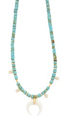 Jacquie Aiche Ja Double Horn And Turquoise Beaded Necklace