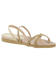 Daniel Morvern Diamante Strap Sandals Gold Metallic