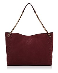 Tory Burch Marion Suede Chain Shoulder Slouchy Tote Port
