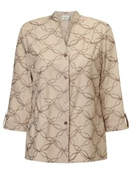 Eastex Contrast Embroidered Overshirt Neutral