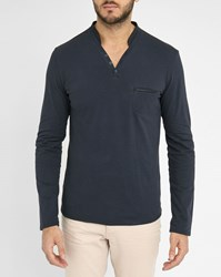 Ikks Navy Ls Polo Shirt With Grandad Collar