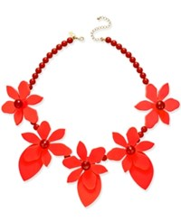 Kate Spade New York Lovely Lillies Gold Tone Enamel Floral Statement Necklace