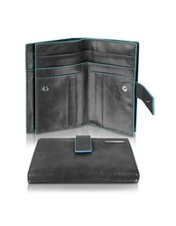 Piquadro Blue Square Women's Leather Card Holder And Id Wallet Black