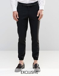 Only And Sons Skinny Cuffed Hem Trousers With Stretch Black
