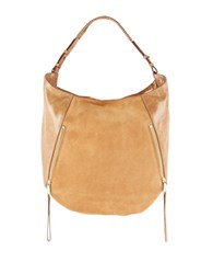 Halston Elysa Suede And Leather Hobo Bag Sand