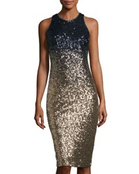 Nicole Miller New York Ombre Sequin Cocktail Dress Blue Gold