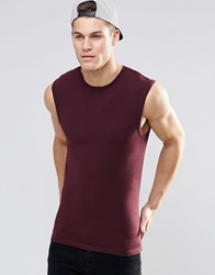 Asos Extreme Muscle Sleeveless T Shirt In Oxblood Oxblood