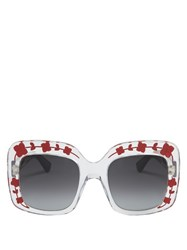 Gucci Oversized Square Frame Acetate Sunglasses Red