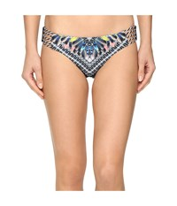 Red Carter Feather Warrior Reversible Classic Side Strap Bottoms Deep Lake Multi Women's Swimwear