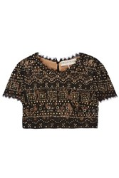 Emilio Pucci Cropped Studded Lace Top Black