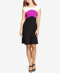 American Living Colorblocked Jersey Dress Black Berry White