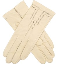 Dents Stitch Detail Leather Gloves Parchment