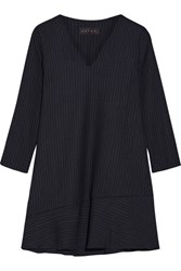 Hatch The Day To Night Pinstriped Stretch Ponte Mini Dress Navy