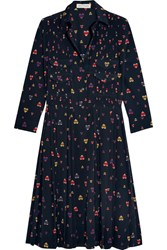 Chinti And Parker Pleated Printed Stretch Silk Shirt Dress Navy