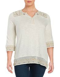 Lucky Brand Plus Embroidered Jersey Peasant Tunic White