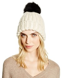 Eugenia Kim Rain Slouchy Beanie With Fox Fur Pom Pom Cream Black