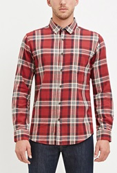 Forever 21 Classic Tartan Plaid Shirtm Red Taupe