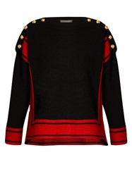 Alexander Mcqueen Button Embellished Cashmere Sweater Black Red